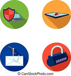 Hacker, system, connection .Hackers and hacking set collection icons in flat style vector symbol stock illustration web.