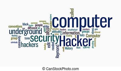 hacker, tekst, computer, skyer