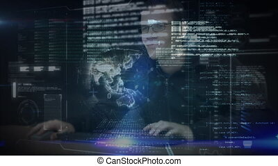 Hacker typing on computer