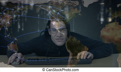 Hacker typing on computer trying to hide his location with connection lines on the background