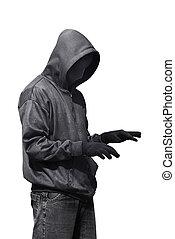 Hacker typing something while standing