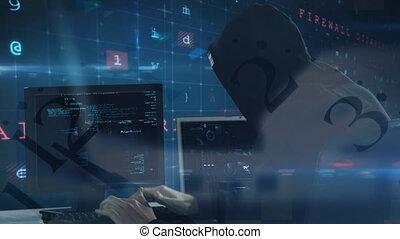 Hacker using computer in dark room - Digital composite of ...