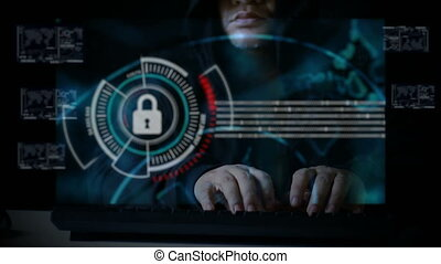 Hacker using keyboard with user interface HUD code for cyber criminal cyber attack and futuristic concept with dark and grain processed