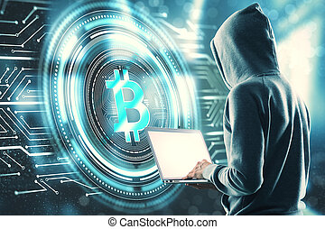 Malware and cryptocurrency concept