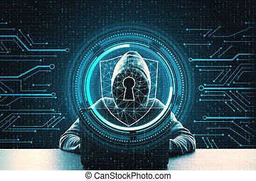 Hacker using laptop with abstract interface. Safety and malware concept. Multiexposure