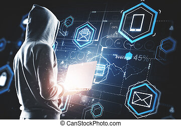 Hacking, future and information concept - Hacker using...
