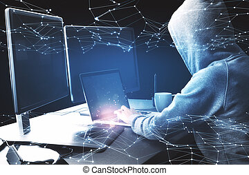 Hacker using laptop with hologram