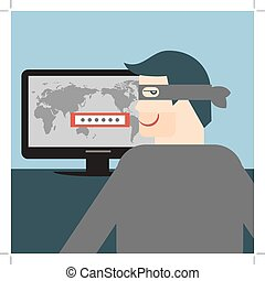 Hacker. Vectorial illustration for thief stealing sensitive...