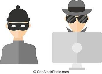 Hacker vector illustration. - Portrait of hacker with mask...