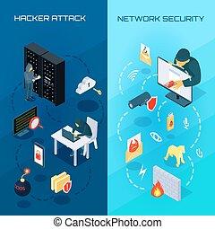 Hacker Vetrical Isometric Banners - Set of vertical...