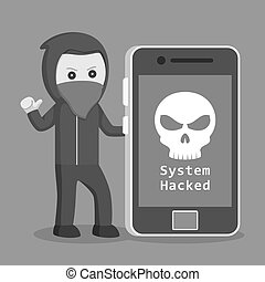 Hacker with big smartphone