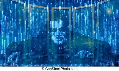 Hacker with computer matrix code