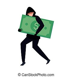 hacker with dollar money cash on white background