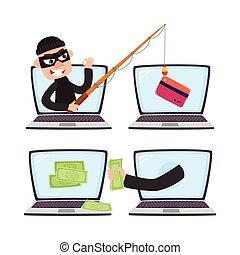 Hacker with fishing rod, computer phishing attack - Hacker...