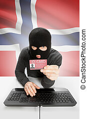 Hacker with flag on background holding ID card in hand - Norway