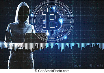 Cryptocurrency and hacking concept