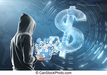 hacker with laptop and dollar sign