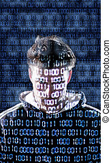 Hacker with looking directly to the camera - Hacker with...