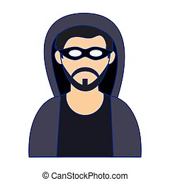 Hacker with mask avatar blue lines