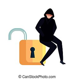 hacker with padlock on white background