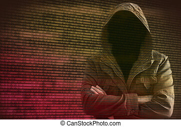 Hacker without face surrounded by binary code