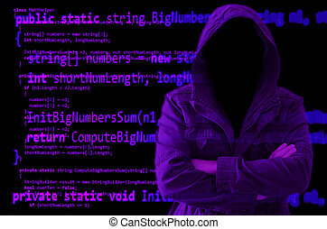 Hacker without face surrounded by source code