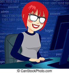 Hacker Woman With Computer