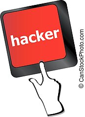 hacker word on keyboard, attack, internet terrorism concept vector