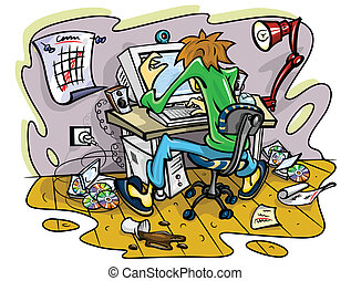 hacker working on computer in jumble room vector...