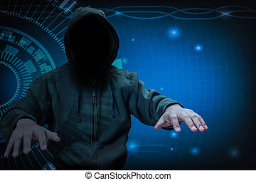 Hacker working on internet for cyber crime concept