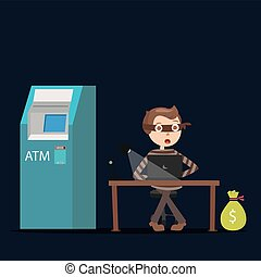 hacker working on laptop in the dark try to steal money from bank ATM