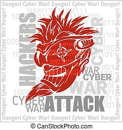 Hackers Attack - cyber war, sign on digital binary...