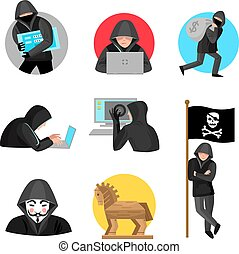Hackers Characters Symbols Icons Collection