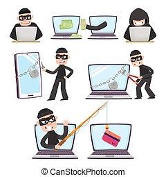 hackers, dinheiro, laptop, roubando, usando, caricatura