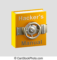 Hacker's manual book vault isolated on grey - Secrets and...