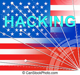 Hacking American Flag Shows Hacked Election 3d Illustration