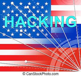 hacking, amerikaanse vlag, optredens, hacked, verkiezing, 3d, illustratie