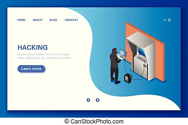 Hacking an ATM. Concept banner in flat isometric view.