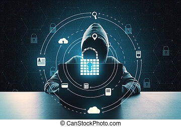 Hacking and antivirus concept