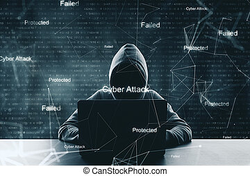 Hacking and cyber attack.
