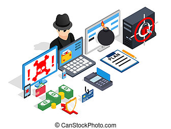 Hacking clip art, isometric style - Hacking clip art....