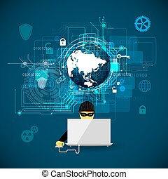 hacking., concept, contre, protection
