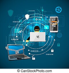 hacking., concept, protection, contre