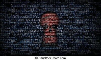 Hacking data. Hacking and stealing information.