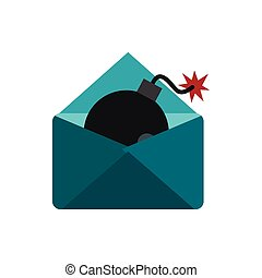 Hacking e-mail icon, flat style
