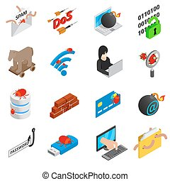 Hacking icons set, isometric 3d style - Hacking icons set in...
