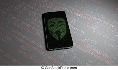 Hacking personal information on the phone. Guy Fawkes mask....
