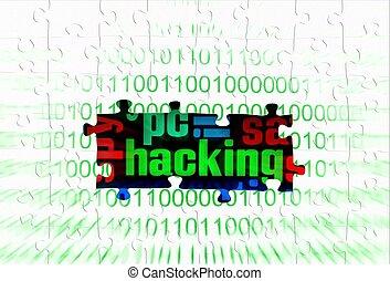hacking puzzle concept