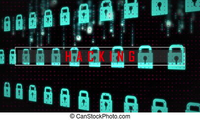 Hacking text against security lock icon moving in background...