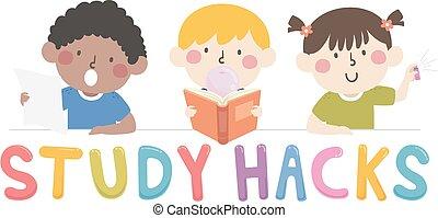 hacks, 子供, 勉強しなさい, イラスト
